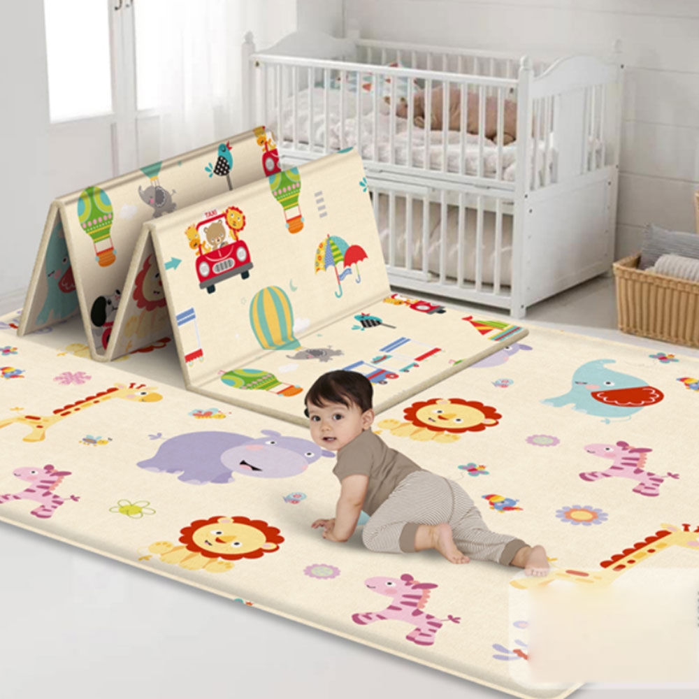 Lovely Play Mat Crawling Double Side Lion Pad  Baby Folding Thickening LDPE Eco-friendly Household Kids Floor Mat 180*100*1cm
