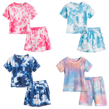 Baby Girls Clothes Sets For Kids Summer Tie-dye Printed Short Sleeve T Shirts Tops+Shorts