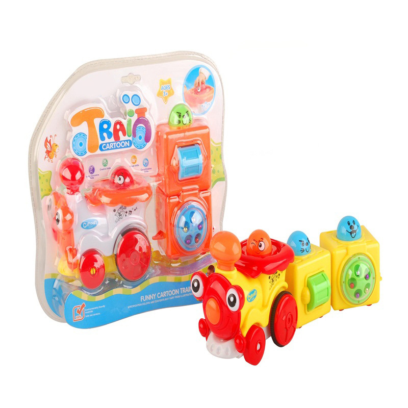 Children Electric Universal Cartoon Train Toy Baby Early Childhood Inertia Locomotive Toy Car Christmas Gift