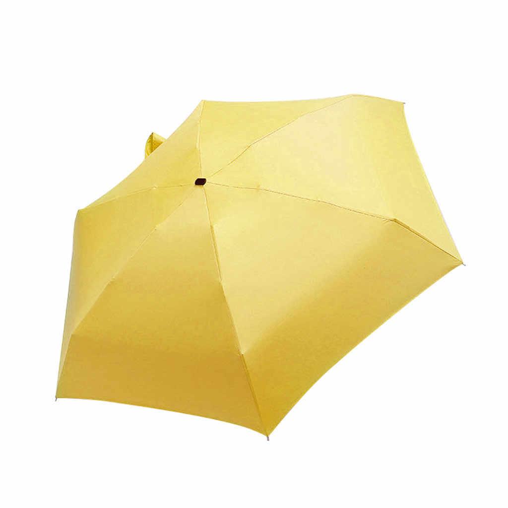 Wanita Mewah Ringan Payung Hitam Lapisan Parasol 5 Lipat Matahari Hujan Payung Unisex Perjalanan DIY Protable Saku Mini Payung
