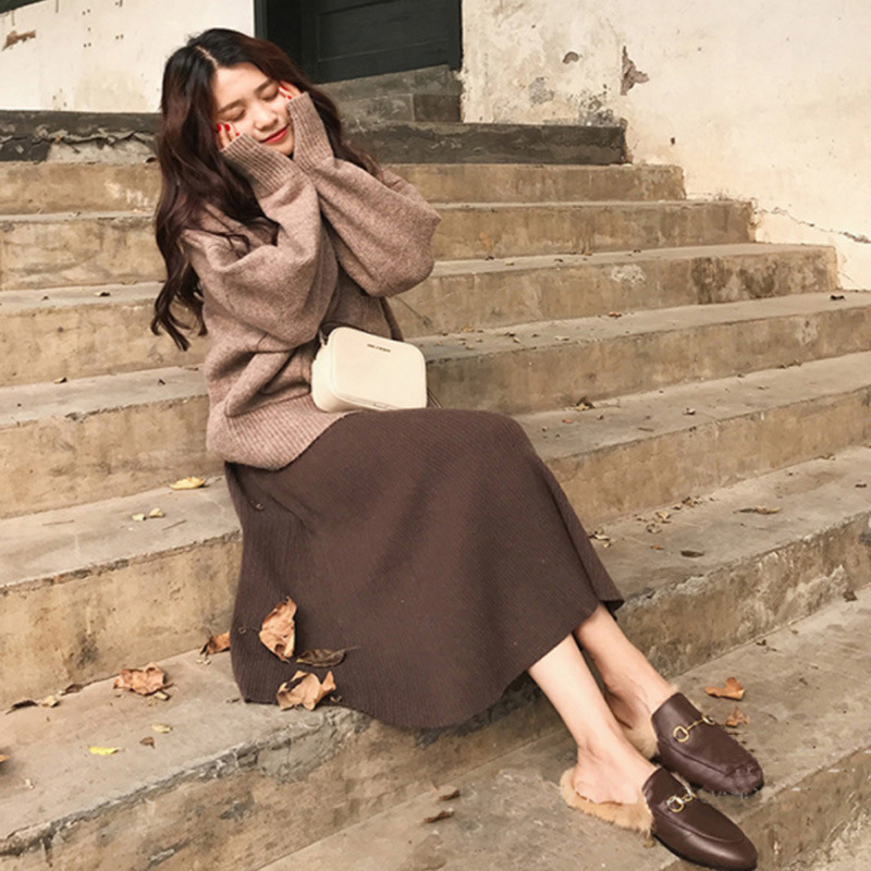 Autumn WOMEN'S Suit 2018 New Style Early Autumn Fashion Knitted Graceful Dress Outfit Two-Piece Sweater Skirt 5016