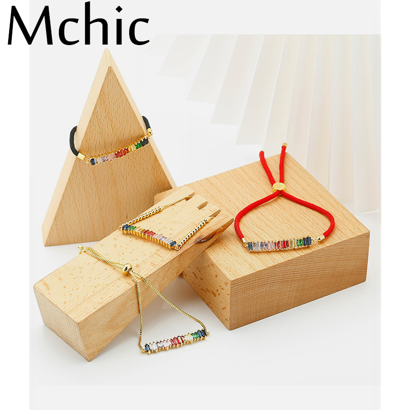 Mchic Fashion AAA Zirconia Rope Bracelets Multi Color Chain Link Charm Adjustable Bracelet Bangle for Women Party Jewelry Gift in Chain Link Bracelets from Jewelry Accessories