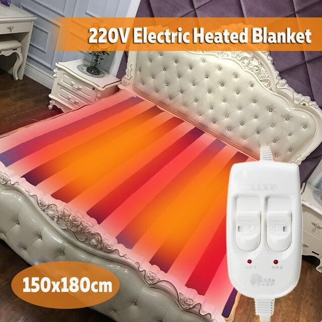 150 × 180センチメートル220 12v自動電気加熱サーモスタットスローブランケットダブルボディウォーマーベッドマットレス電気加熱されたカーペットマット