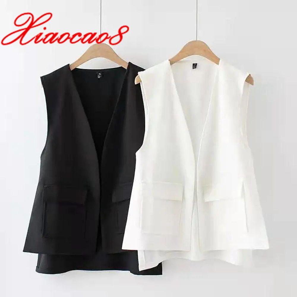 Spring Summer Women Chiffon Vest  Coat Black White Sleeveless Thin V Neck Jacket Solid Pockets Waistcoat Femme Plus Size Gilet
