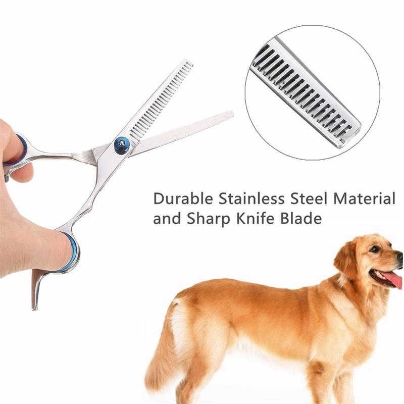 5 個ステンレス鋼ペット犬グルーミングはさみ猫髪間伐せん断シャープエッジ犬切削子猫動物理髪切断ツール