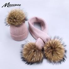 Детский вязаный шарф и шапка, комплект, Роскошные зимние теплые вязаные шапки и шарфы с натуральным мехом, Шапка-бини для мальчиков и девочек