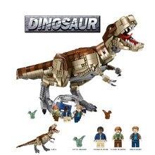 Novo presente para o natal jurassi dinossauro mundo parque filme t. rex rampage blocos de construção tijolos crianças brinquedos compatibled 75936