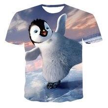 Verão 2021 crianças 3d pinguim impressão camiseta o-pescoço roupas de manga curta confortável solto 4t-14