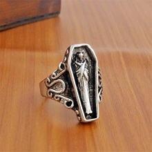Новинка винтажное посеребренное кольцо в виде гроба для египетской