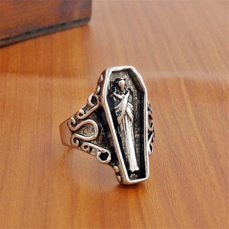 Новинка, винтажное посеребренное кольцо в виде гроба для египетской мамы, простое кольцо в стиле ретро, Индивидуальный размер, регулируемое...