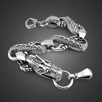 New Hip hop Punk Style Man Jewelry 100% Solid 925 Sterling silver bracelet Fashion Men 23cm vintage Thai silver dragon bracele