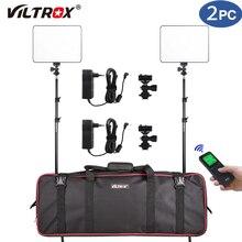 Vilrox VL-200T 2 conjunto estúdio câmera foto luz led kit de luz de vídeo remoto sem fio bi-color + 75