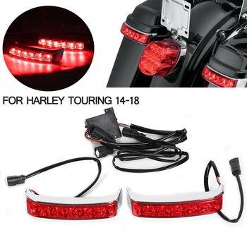Motorcycle LED Tail Light Saddlebag Box Luggage Housing Tail Run Brake Turn Light Lamp LED Len For Harley Street Glide 2014-19