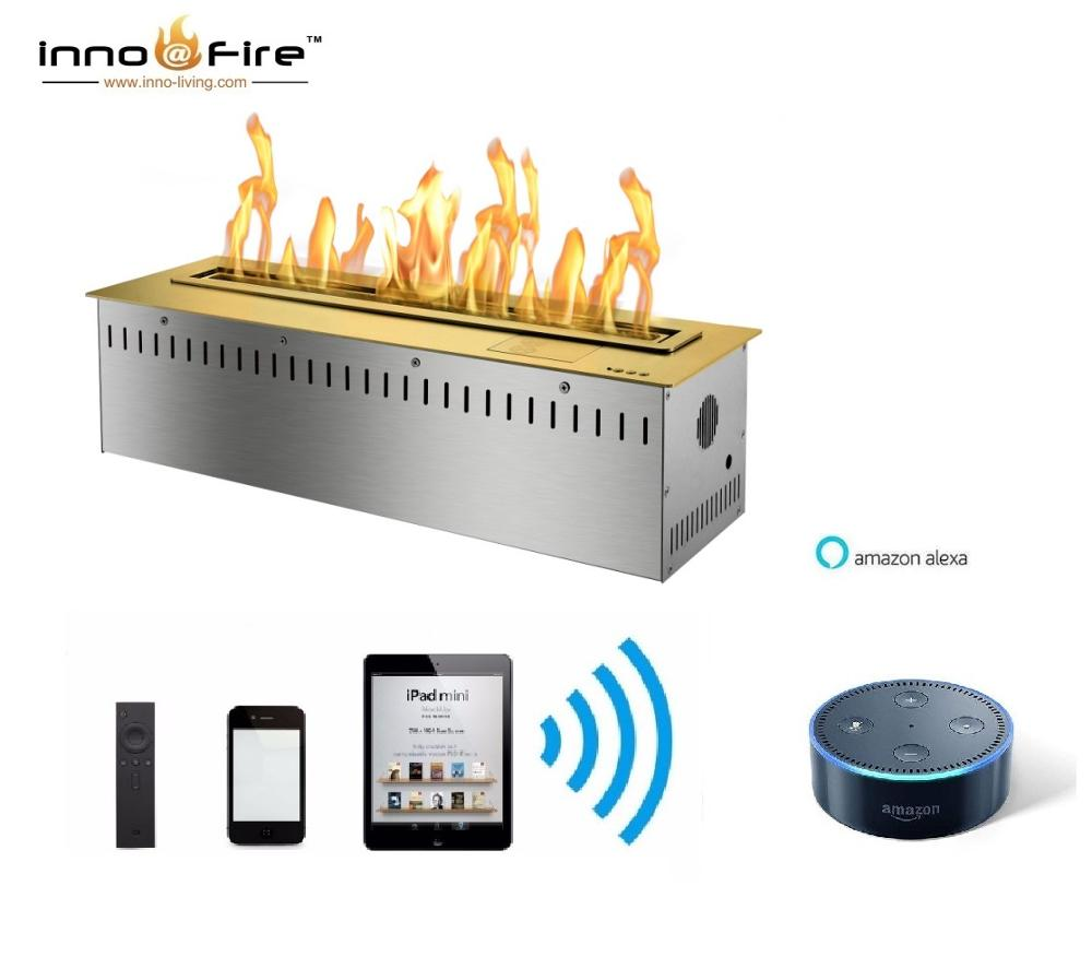 On Sale 24 Inch Luxury Fireplace App Control Smart Ethanol Burner Insert