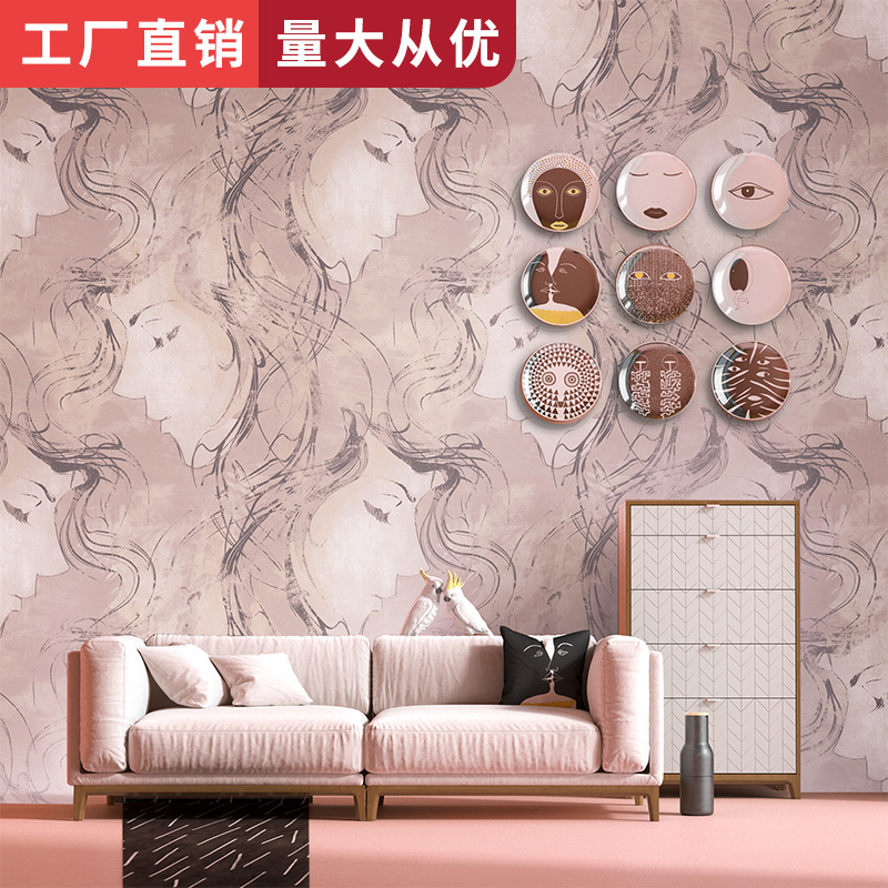 Clothing Store Barbershop Living Room Wall Wallpaper-Style Modern Minimalist Abstract Figure Sketch Art Wallpaper