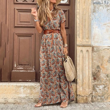 Summer Beach Maxi Dress Women Floral Print Boho Long Dress Casual V-Neck Split Sexy Party Dress Robe Femme