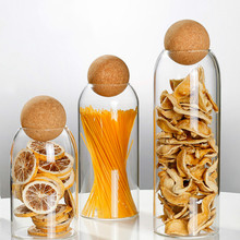 Glass-Jar Contains Storage Jars Lid-Bottle Ball Cork Coffee Transparent Cereals Sealed-Tea-Cans