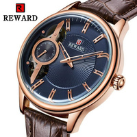 REWARD 2019 New Sports PU Leather Strap Waterproof Men's Watches Luxury Business Hollow Out Mechanical Male Wrist Watch Brown
