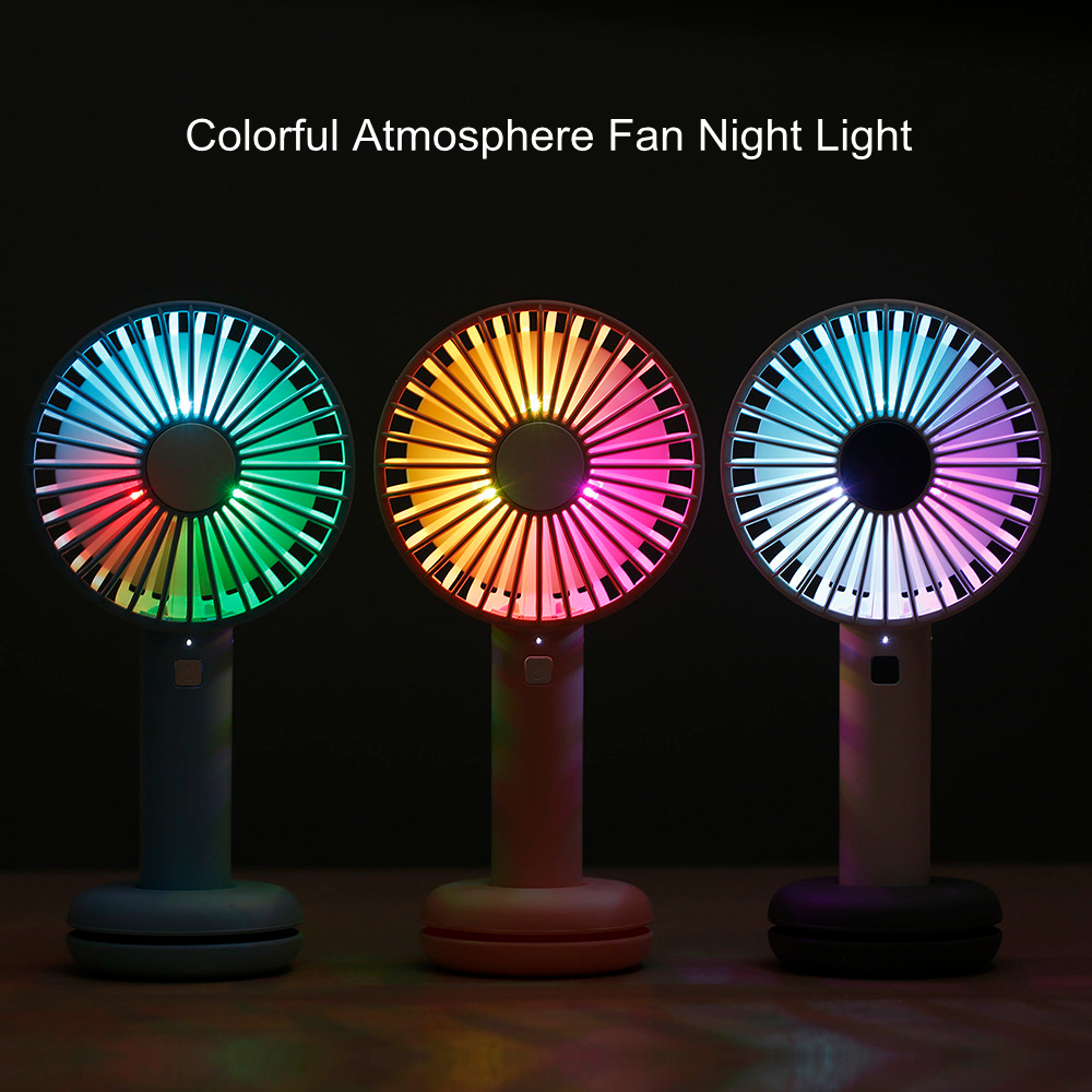 Creative Design Portable Desktop Handheld Doughnut Style LED Colorful Fan Night Light USB Rechargeable LED Light Beauty Gift(China)