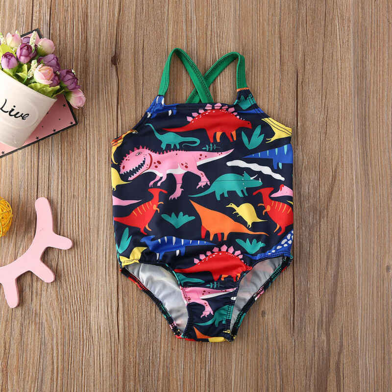 بدلة سباحة لطيفة للأطفال الرُضَّع والرُضَّع لعام 2020 بدلة سباحة بطباعة ديناصور بدلة سباحة رومبير بدون أكمام بذلة بكيني على شكل سلسلة ملابس صيفية للشاطئ