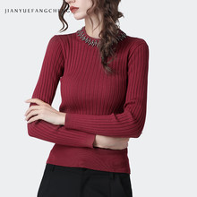 Sexy Skinny Women Knit Sweater Elastic Thin Long Sleeve O-Neck Autumn Winter Bottoming Top Striped With Metal Necklace(China)