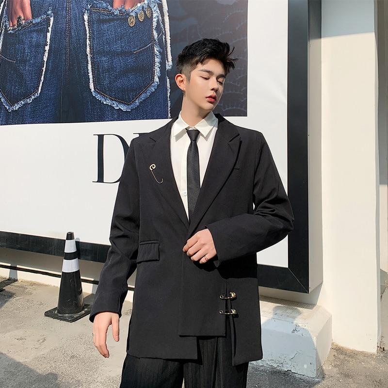 Male Streetwear Fashion Hip Hop Vintage Suit Blazer Jacket Outerwear Men Pin Belt Casual Slim Fit Suit Coat
