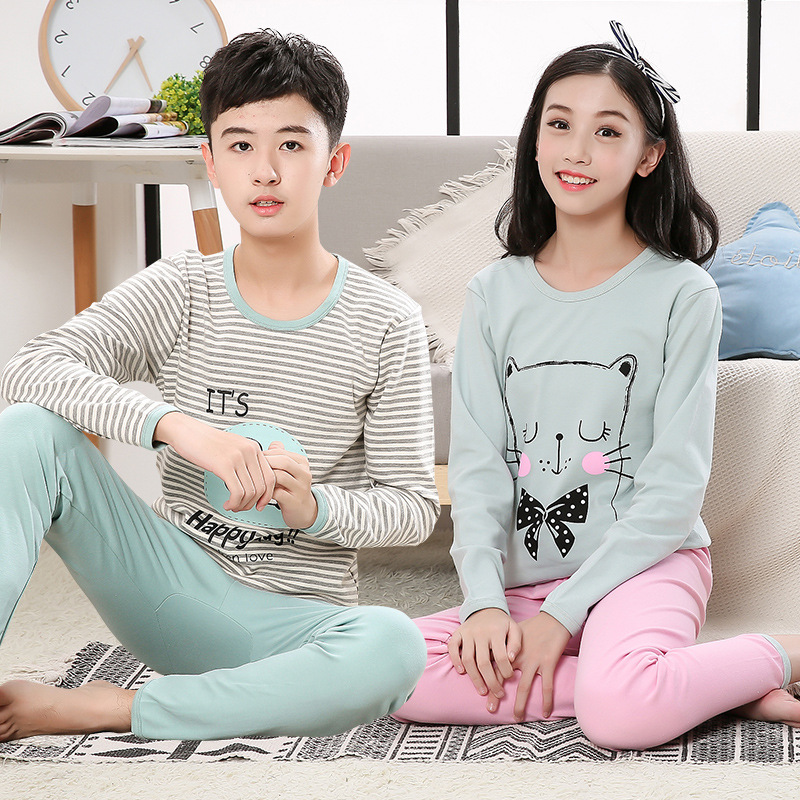 Kids Boys Pajama Sets Cartoon Print Sleepwear Long Sleeve O-Neck T-Shirt Tops With Pant Girls Child Autumn Pyjamas Teens Clothes