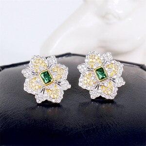 Image 4 - CMajor S925 Solid Sterling Silver High end Delicate Vintage Temperament Elegant Flower Shape Two Tone Stud Earrings for Women