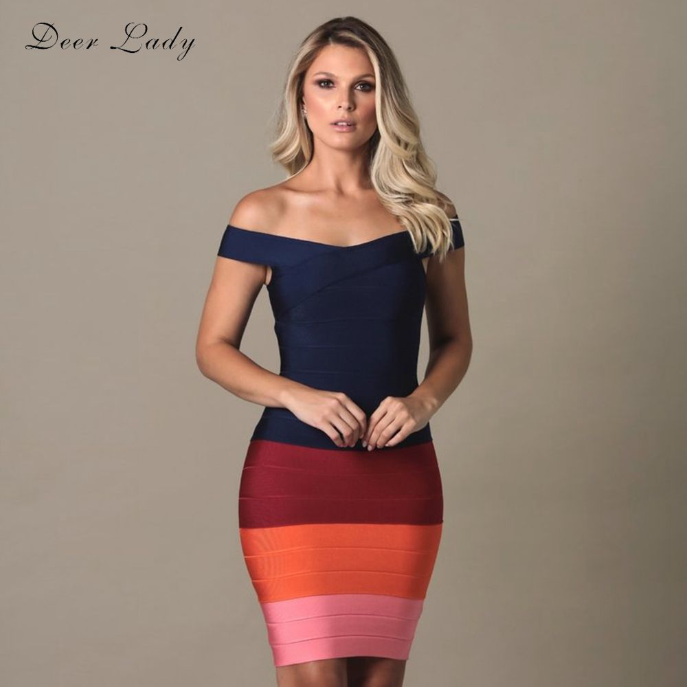 Deer Lady Bandage Dress 2020 Vestido Rainbow Mini Sexy Off Shoulder Bandage Dress Bodycon Celebrity Club Evening Party Dress