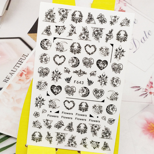 3D Nail Sticker Decals Wreath Love Flowers Design Nail Art Decorations Stickers Sliders Manicure Accessories Nails Decoraciones(China)