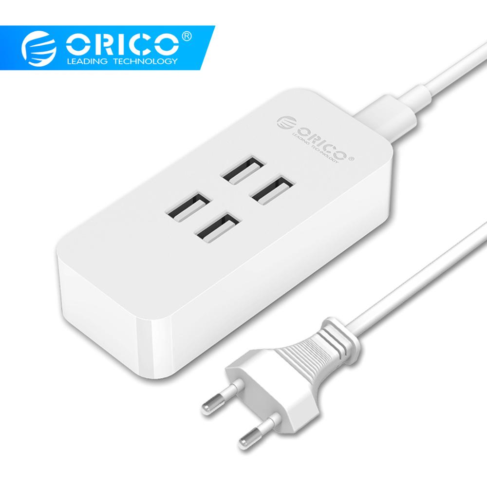 ORICO 4 Port USB Chargeur Mini Smart Charging Dock Station 5V2.4A * 4 Max Output 20W Desktop Charger for Smart Phone Pad Charging
