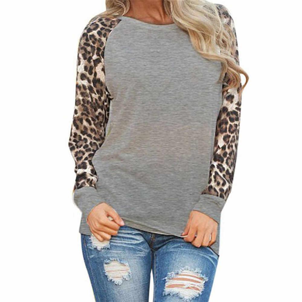الخريف المرأة ليوبارد قميص طويل الأكمام أزياء المرأة طويلة سترة المتضخم عارضة مثير أعلى Топы Женские # py