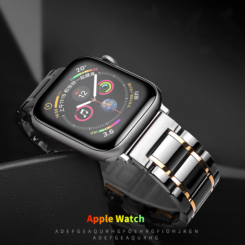 Ceramic Strap For Apple Watch 5 Band 44mm 40mmm Luxury Stainless Steel Bracelet IWatch Band 42mm 38mm 40 42 44 Mm Series 3 4 5