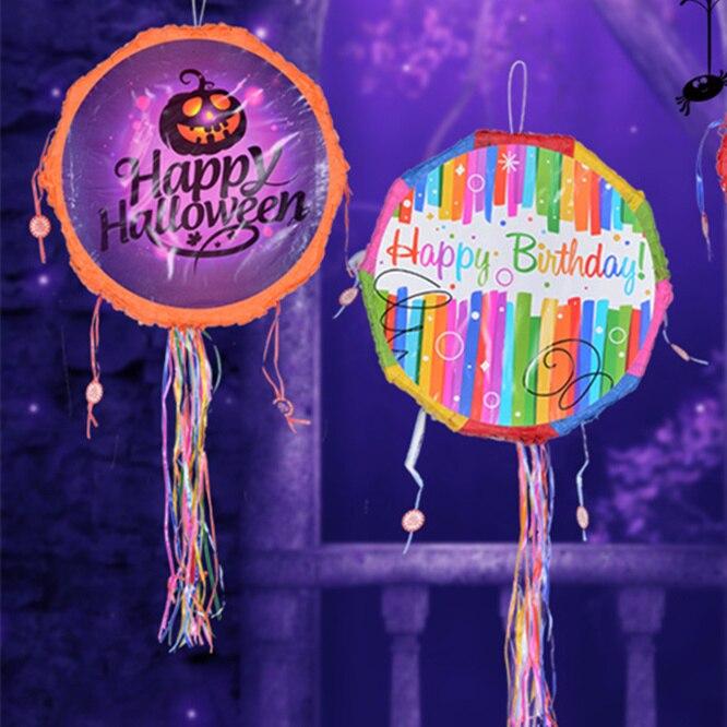 Piñata de cumpleaños tema papel doblado niños favores juego regalos juguetes niños fiesta de cumpleaños de Halloween regalos suministros de decoración DIY Lámpara LED de tira de seta de 2 metros y 30 pulgadas con caja de batería, Lámpara decorativa para fiestas de jardín, cable en miniatura para el hogar, regalo para niños