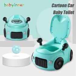 Детский внутренний унитаз, портативный удобный унитаз, тренировочное сиденье с мультяшным автомобилем, детский унитаз, Многофункциональны...