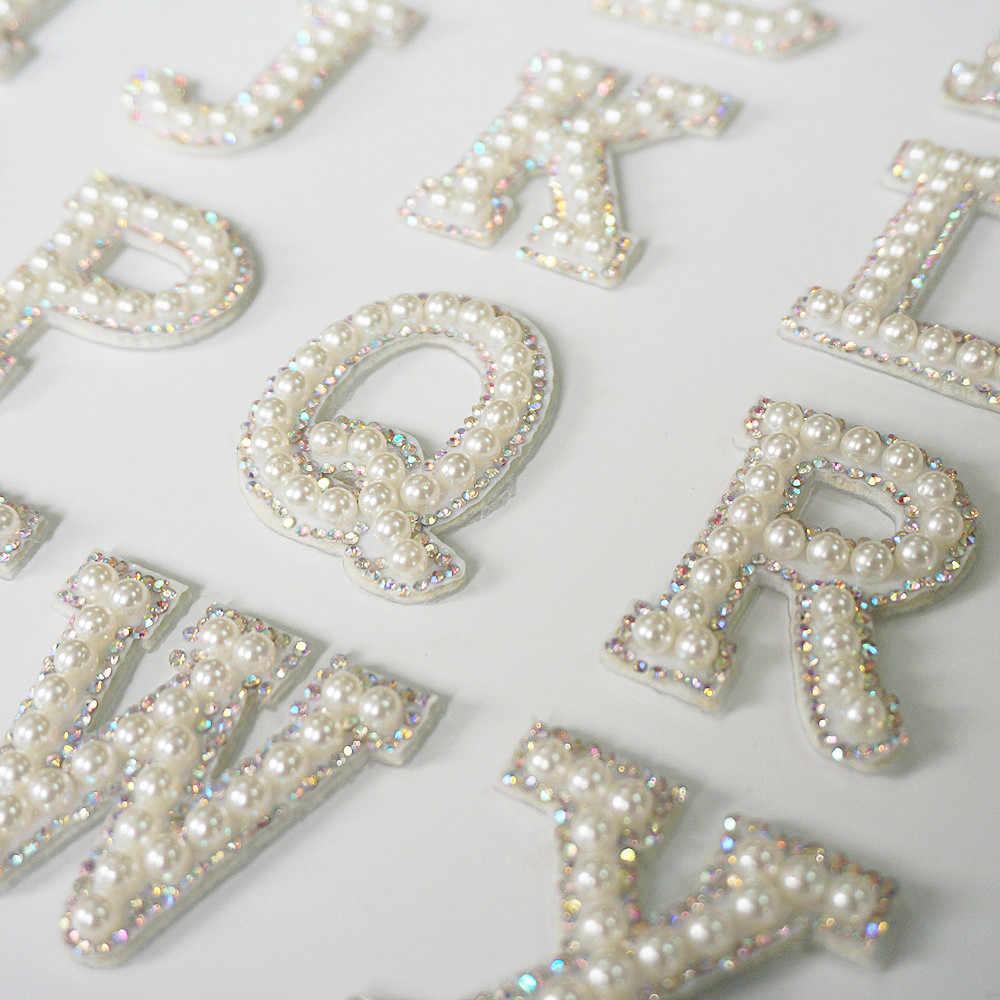 A-Z Parel Strass Engels Brief Alfabet Naai Iron Op Patch Badge 3D Handgemaakte Letters Patches Tas Hoed Jeans Applique Diy