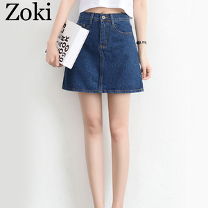 Image 3 - Zoki Sexy Women Denim Mini Skirt Fashion Summer High Waist Korean Black Skirt Blue Package Hip Jeans Harajuku Plus Size Cotton