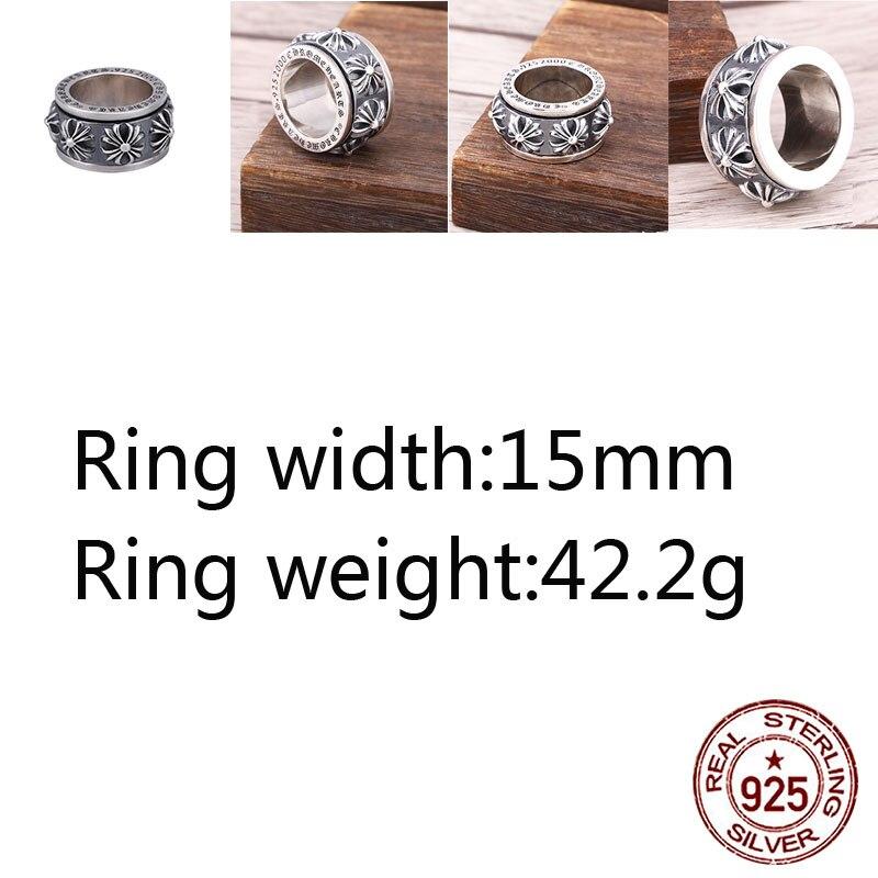 A84-2 925 bague en argent sterling personnalité punk hip-hop style bijoux croix autour dominateur rotatif anneau rétro couple modèle