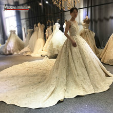 Champagne color long train beading wedding dress with nice back customer order bride dress