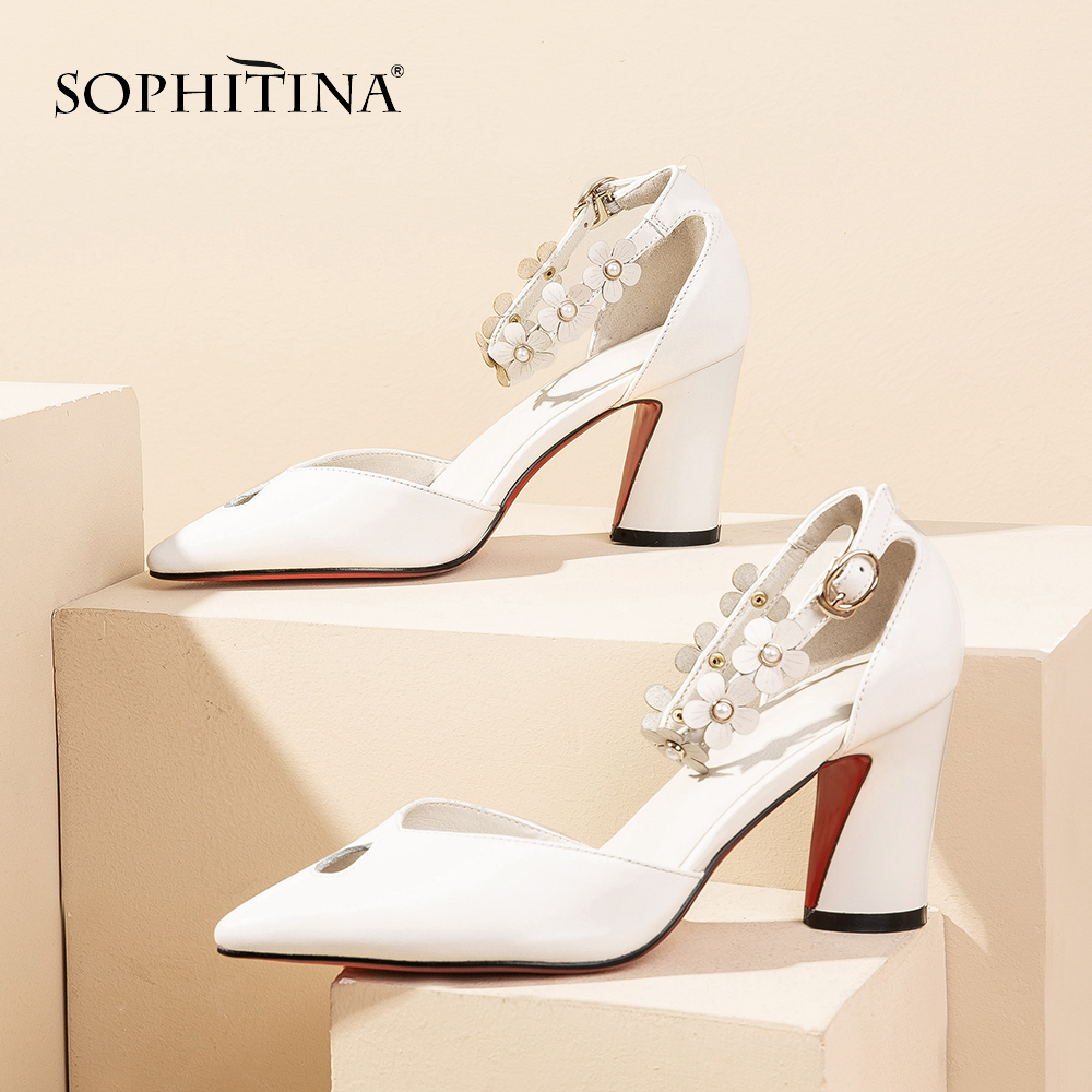 SOPHITINA Fashion Sandals Women High Quality Cow Leather Flower pattern Decoration Ankle Buckle Strap Shoes Sexy Sandals SO453