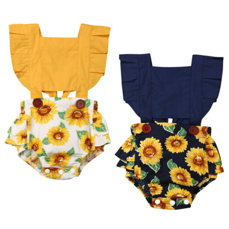 Focusnorm Fashion Toddler Baby Girls 0-24M Sunflower Romper Off Shoulder Jumpsuit Outfit Set Sunsuit Clothes