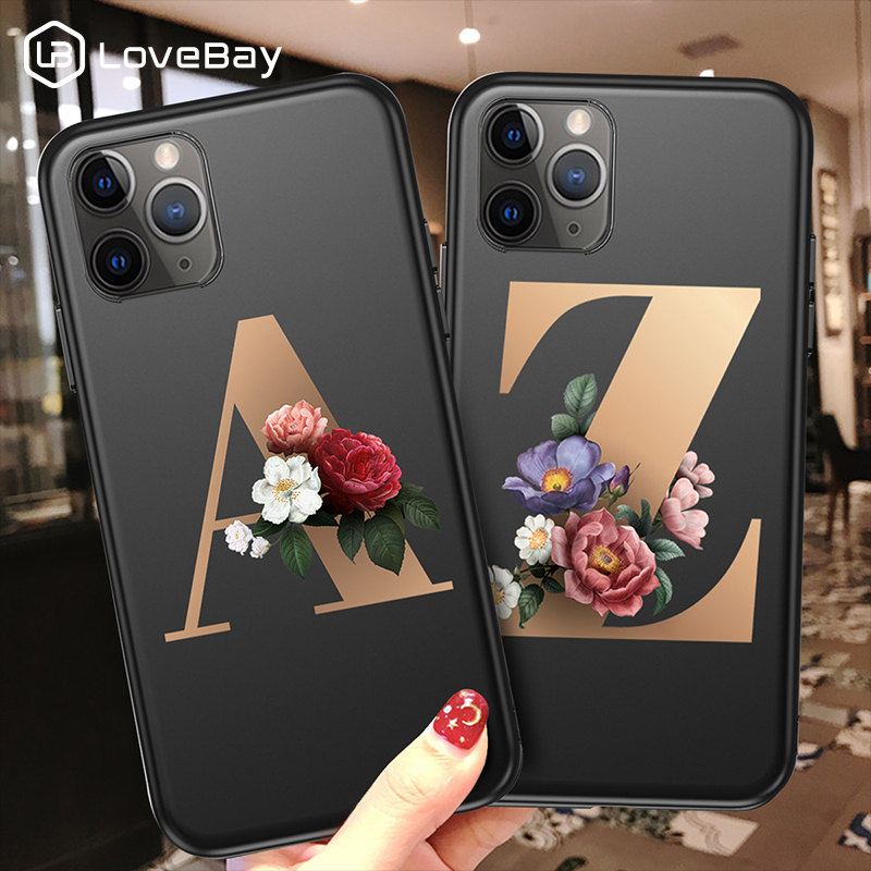 Lovebay Customized Initial Letter Phone Case For IPhone 11 Pro X XR XS Max 8 7 6 6s Plus Flowers Black Silicone Soft Back Cover