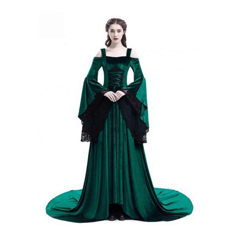 ימי הביניים תחרה ארוך חצאית קלע off-the-כתף שמלות COS שלב ללבוש