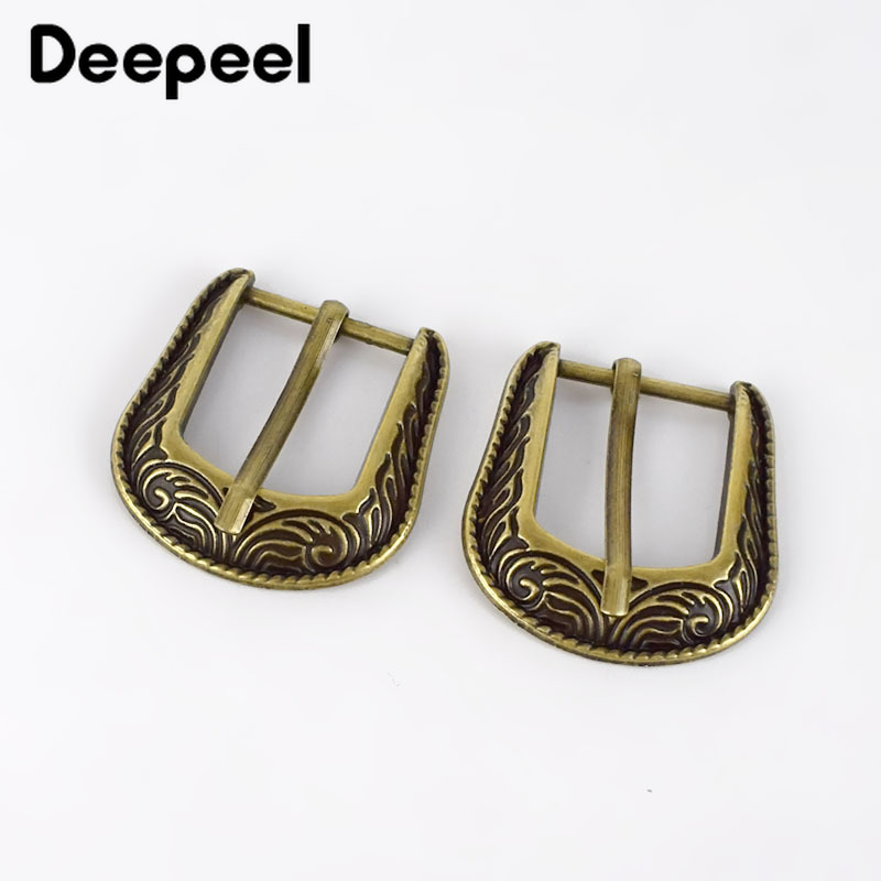 Deepeel 2/5pcs 2cm Classical Pattern Pin Buckle Retro Bronze Belt Buckle Head DIY Strap Bag Pants Leathercrafts Decor Accessory