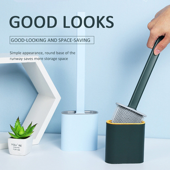 Silicone Creative Cleaning Toilet Brush Set With Toilet Brush Holder Toilet Brush Holder Set Cleaning Bathroom Durable Tool Set недорого