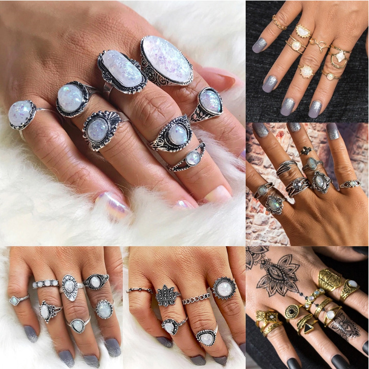 Knuckle Finger Jewelry Midi-Rings-Set Opal-Stone Silver-Ring Bohemian Vintage Antique