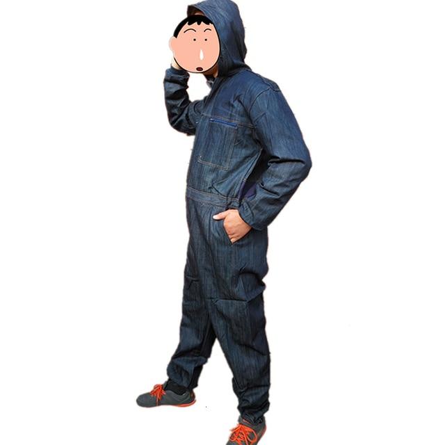 Men Cotton Blend Zip-Front Work Protective Coveralls Denim Overalls For Repairman Machine Auto Repair Electric Welding P004 6