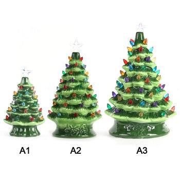 woondecoratie DIY Kerstboom Versierd Keramische Kerstboom Licht Tafelblad Kerst voor Thuis Festival DIY Bureau Decoratie