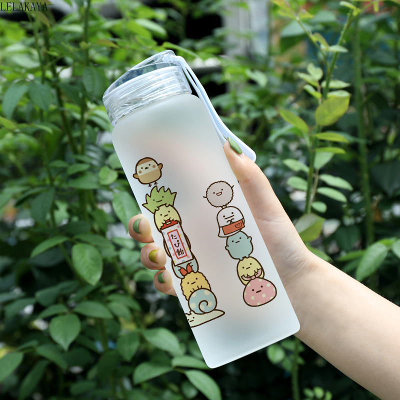 500ml Cartoon Anime Action Figure Sumikko Gurashi San-X Corner Bio Frosted Glass Cup Portable Travel Water Bottle Unisex Gifts