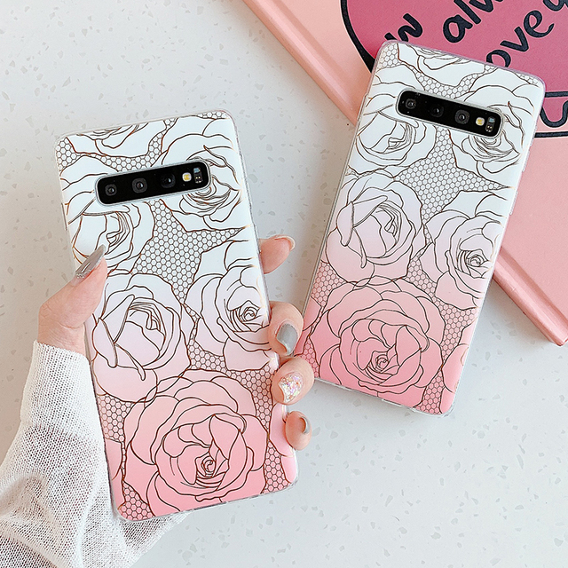Marble Rose Case For Samsung Phones, Soft TPU Silicone Case